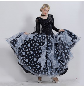 Custom size Ballroom dancing dresses rhinestones long sleeves competition flamenco stage performance waltz tango dancing dresses